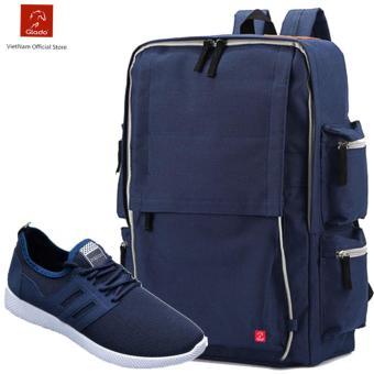Combo Balo hình hộp BLG056BU + Giày Sneaker GS068BU (Xanh) - CB001