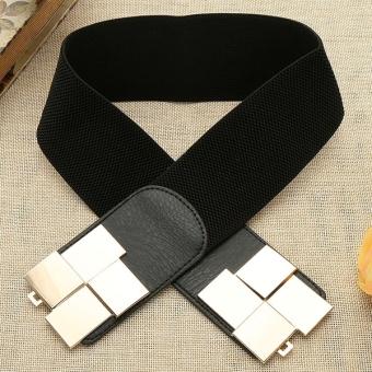 Sunweb Women Wide Type Elastic Stretch Waistband Waist Belt (Black) - Intl
