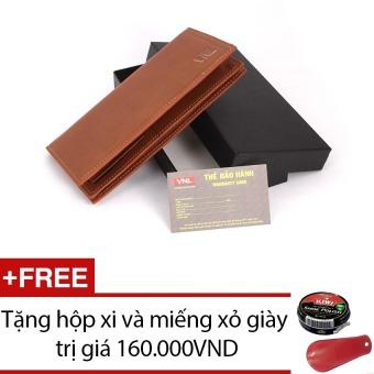 Ví cầm tay nữ da thật Da Giày Việt Nam VNLLDT10AZA08Q (Nâu) + Tặng hộp xi và miếng xỏ giày