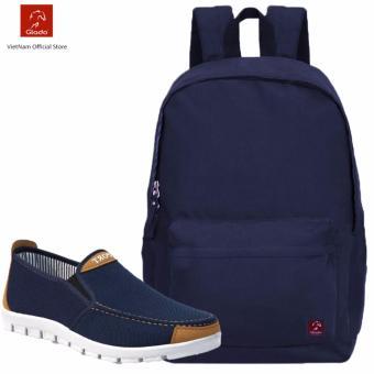 Combo Balo Cylinder Laptop BLL002BU + Giày Sneaker GS045BU (Xanh) - CB018