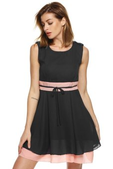 Cyber Finejo Women Casual Chiffon Dress High Waist Patchwork Pleated Sundress (Black) - intl