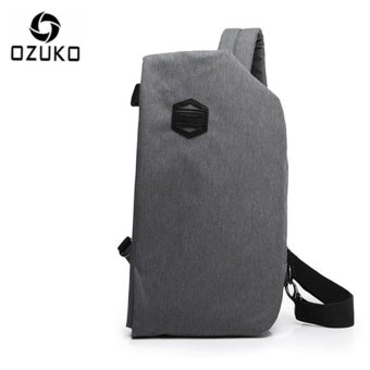 OZUKO 2017 New Creative Chest Bag Casual Multi-functional Shoulder Messenger Bag Travel Crossbody Handbag Chest Pack (Light Grey) - intl