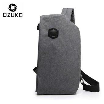 OZUKO 2017 New Creative Chest Bag Casual Multi-functional Shoulder Messenger Bag Travel Crossbody Handbag Chest Pack (Light Grey) - intl