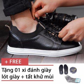 Giày sneaker nam chất liệu da Smartmen SM-04 (Đen), tặng kèm 1 đôi lót giày, 1 đôi tất, 1 hộp xi