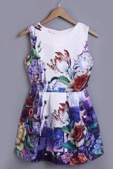 Linemart Flower Print Women's O-neck Summer Dress (Multicolor) - intl