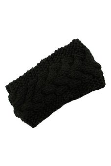 DHS Headwrap Knit Flower Hairband (Black) - intl