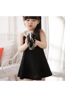 Moonar Children Girls Cute Lace Doll Sequined collar Princess Dress (Black) - intl