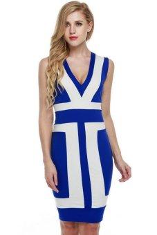 Sunweb FINEJO Sexy Women Sleeveless V-neck Contrast color Cocktail Clubwear Bodycon Sundress Dress ( Blue ) - intl