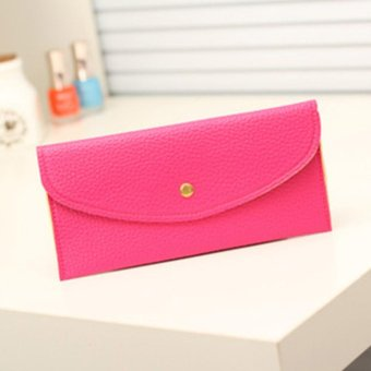 Moonar Women Candy Color Envelope Clutch Bag Thin Wallet Card Purse (Rose) - intl