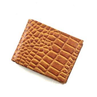 Ví nam da cá sấu LL zipper card khóa bấm LL03 (Nâu vàng)