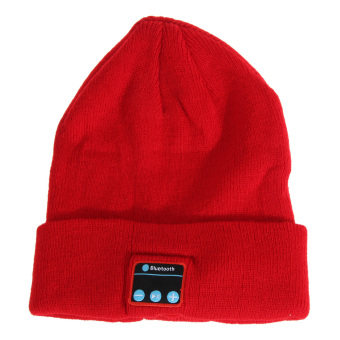 Soft Warm Hat Bluetooth Smart Cap Headphone Headset Speaker Mic (Red) - intl