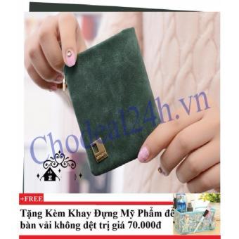 Ví cầm tay vuông nhỏ nhắn cho nữ CDVN02 (xanh rêu) + Tặng kèm khay đựng mỹ phẩm để bàn