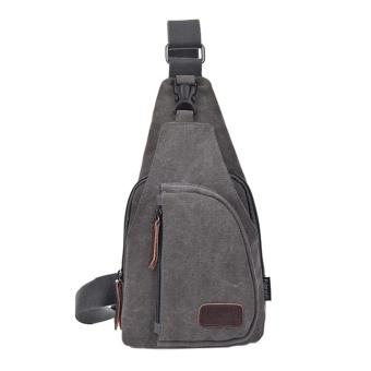 Canvas Chest Pack Men Messenger Bag Casual Travel Fanny Small Retro Shoulder Bag - intl