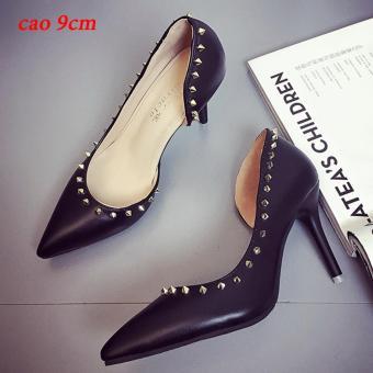 Giày cao gót đính đá nhọn thiết kế đường cong hông-100_MÀU ĐEN