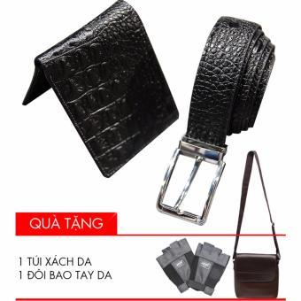 Bộ ví và thắt lưng da 2 mặt David (Đen) + Tặng 1 bao da đựng Ipad và 1 găng tay