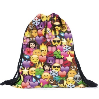 Unisex Emoji Backpacks 3D Printing Bags Drawstring Backpack Multicolor - intl