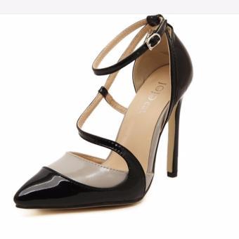 Giày cao gót phối màu mũi nhọn S335 (Đen)