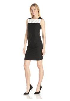 Áo đầm không tay cao cấp nữ Anne Klein Women's Sleeveless Color Block Sheath Dress Black (Mỹ)