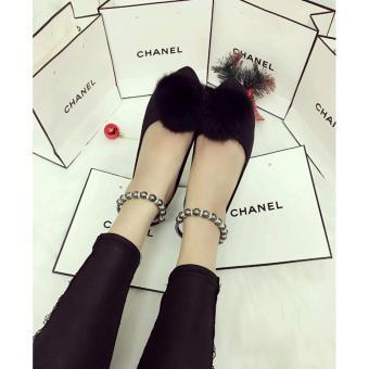 Giày Sandal Bít Lông (Đen)