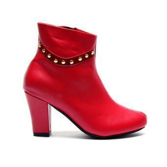 Giày bốt gót vuông viền đinh Mozy MZB29.2 (Đỏ)