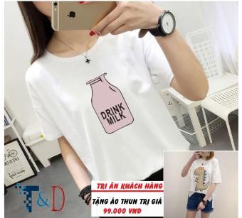 Áo Thun Nữ In Hình Drink Milk Dễ Thương Trần Doanh D331 ( Màu Trắng ) + Tặng Áo Thun In Hình T&D Cao Cấp