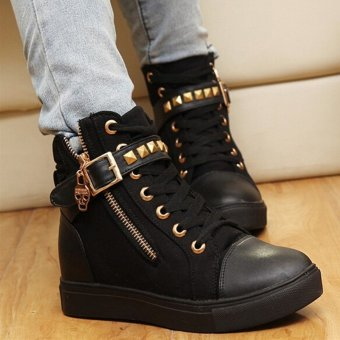 Side Zipper Buckle Wedges Rivet Platform Casual Women Shoes - intl