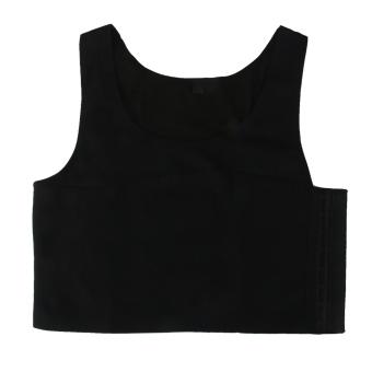 Tomboy Breathable Buckle Short Chest Breast Binder Tank Top Vest Black XL - intl