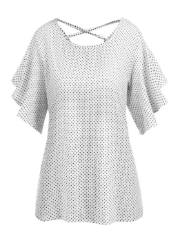 Cyber Women O-Neck Flare Short Sleeve Back Crossing Straps Hollow Out Blouse Dot Tops ( White ) - intl