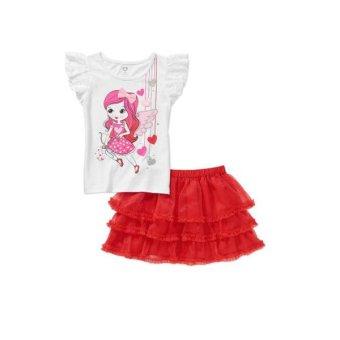 Bộ áo váy thun bé gái Trắng Đỏ – Healthtex