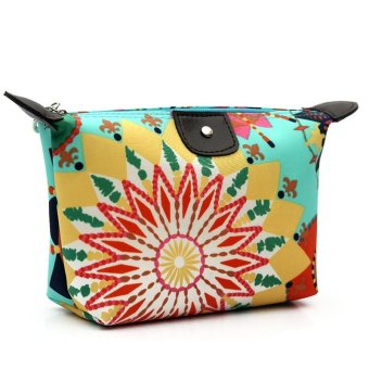 Cute Portable Flower Print KAWAI Women Nylon Cosmetic Dumpling Bags Girls Makeup Bag Packages Make Up Bag Wash Organizer Bag - intl