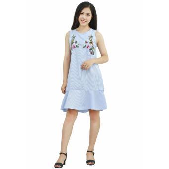 Đầm kẻ xanh thêu hoa