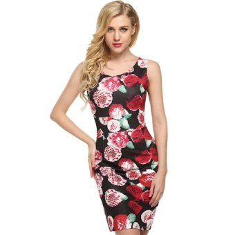 Cyber ACEVOG Elegant Women O-Neck Sleeveless Floral/Solid Tank Dress Silm Package Hip Dress - Intl