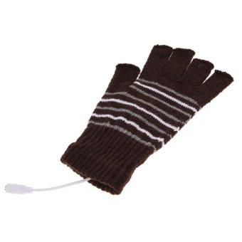 Coffee 5V USB Powered Heating Heated Winter Hand Warmer Gloves Washable - intl