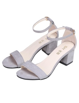 Cyber Fashion Women Faux Suede Ankle Strap High Heel Sandals For Party Wedding ( Grey ) - intl