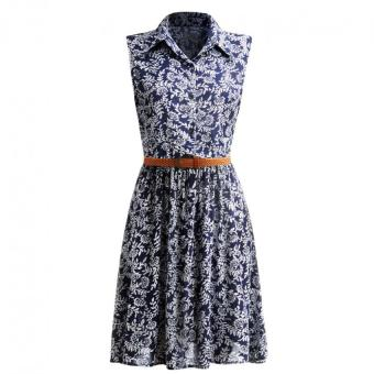 Moonar Fashion Casual Women Sweet Polka Dot Sleeveless Turn Down Collar Slim Wasit Dress with Belt (Blue&White) - intl