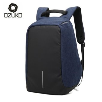 OZUKO 14 Inch Laptop Backpack External Usb Charge Backpack Waterproof Oxford Business Bags for Women Men Travel Bags School Bags (Blue) - intl