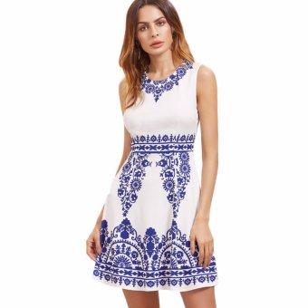 Fancyqube Summer fashion women dress blue and white porcelain print elegant sleeveless dresses bodycon dress casual party dress White - intl