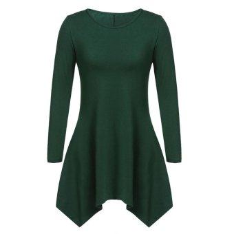 Sunweb Women Fashion Casual Round Neck Long Sleeve Solid Asymmetrical A-Line Short Dress ( Green ) - intl