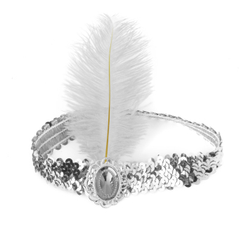 BolehDeals Ladies Sequin White Feather Headband Flapper Fancy Dress Accessories - Intl