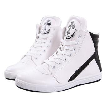 Giày bata phối trắng đen cổ cao SM005 (Trắng)