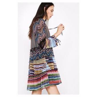Váy Voan Họa Tiết Kẻ Ngang Desigual Dress Lena 72V2WP0404436