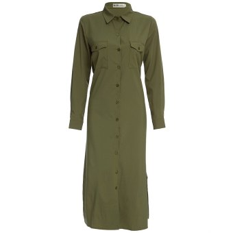 Women Shirt Dress Turn Down Collar Button Pocket Design (Army Green) - intl