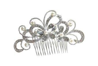 niceEshop Bridal Wedding Jewelry Crystal Rhinestone Bride Pearl Hair Comb Pin (Silver,Butterfly) - intl