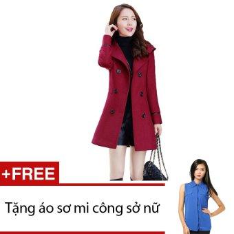 Áo khoác dạ Zahra (Đỏ) + Tặng 1 áo sơ mi công sở nữ