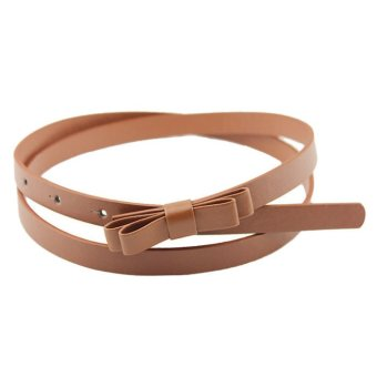 New Fashion Dow Candy Thin Women Pu Leather Casual Belt Cummerbund For Girl Brown