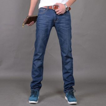 JOY Korea Korean fashion men's slim jeans Blue - intl