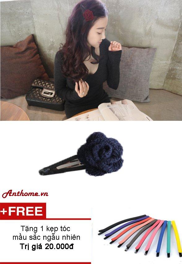 Kẹp tóc handmade chất liệu len KTL173 ( Xanh) + Tặng 1 kẹp tóc màusắc bất kì