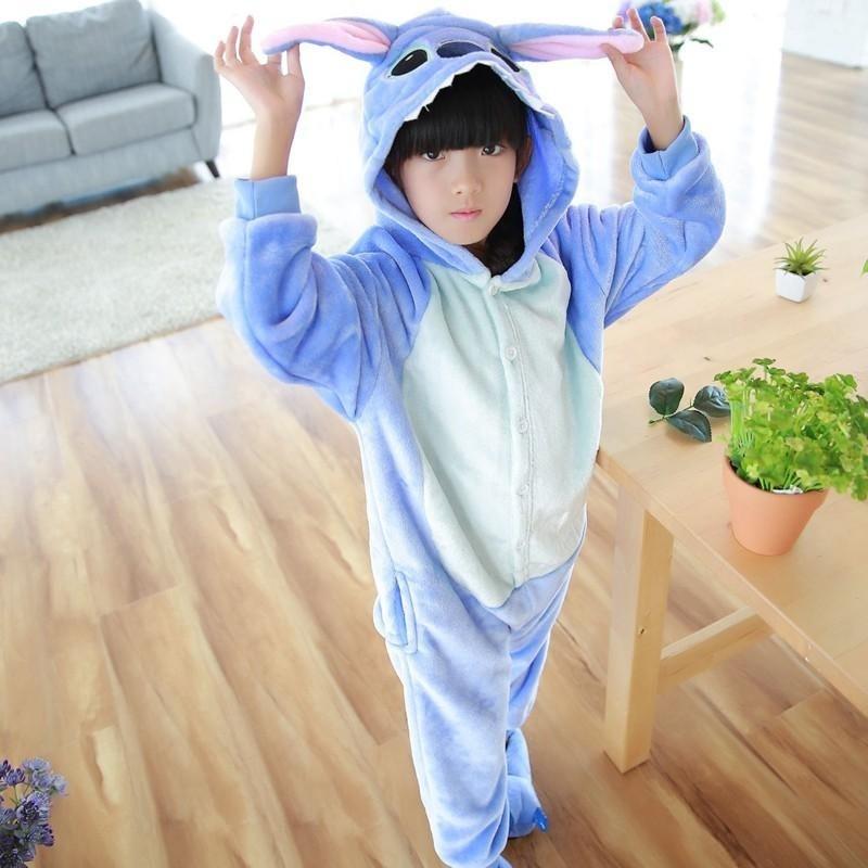 Nơi bán Kids Boys Girls Animal Pajamas Kigurumi Sleepwear Unisex Cos Costume Fancy Dress ( Blue / 100~140 ) - intl