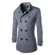 Bảng Giá Men's Double Breasted Trench Coats Grey – intl   crystalawaking