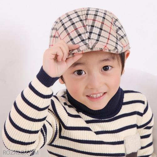 Mũ beret trẻ em ROZALO RME3541CDGD (Caro đen kẻ sọc ghi đỏ)